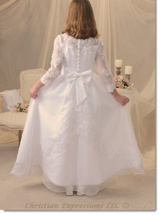 5023 Lace and Organza First Communion Gown Lace with Long Sleeves - Little Angels Couture - 2