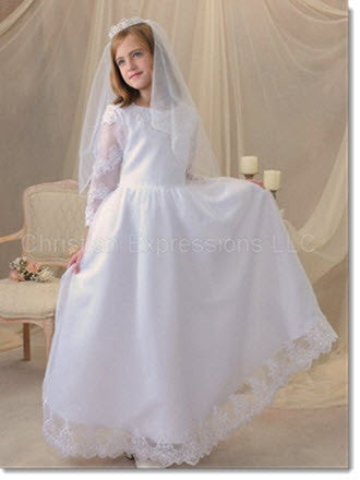 5023 Lace and Organza First Communion Gown Lace with Long Sleeves - Little Angels Couture - 1