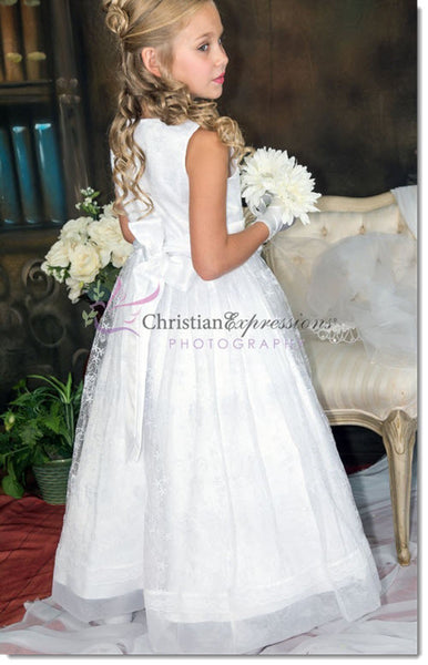 5640 Lace Overlay Beaded Organza First Communion Dress