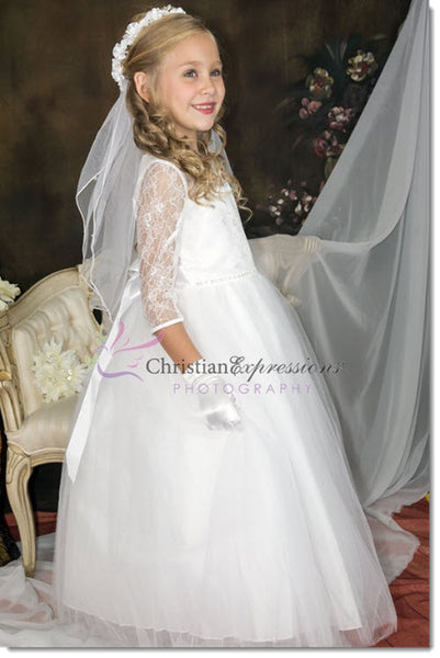5664 - Lace Bodice Three Quarter Sleeves First Communion Dress