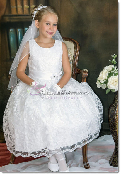 5673 - Sequined Lace Overlay First Communion Dress