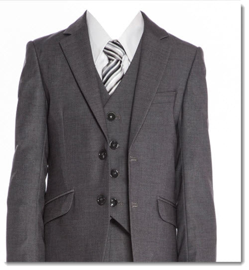 692 - Charcoal Slim Cut Boys 5pce Suit