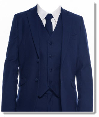 694 - Navy Slim Cut Boys 5pce Suit