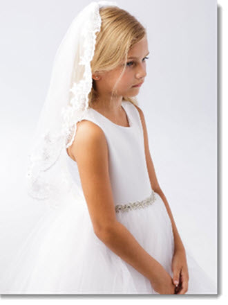 697 - First Communion Veil with Corded Net Lace Floral Edge