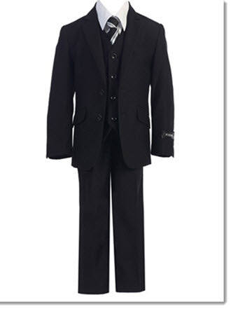 728 - Black Slim  & Husky Cut Boys 5pce Suit