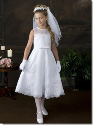 8011 - A Line Pearl Beaded Organza Lace First Communion Dress