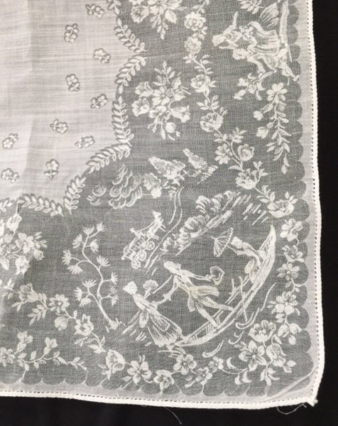 Antique Vintage Hanky Bonnet - Boating couple