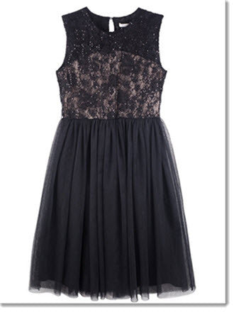 Audrey Lace Bodice Dress - Black