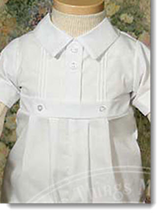 Boys polycotton Christening Romper with pintucking - Little Angels Couture - 2