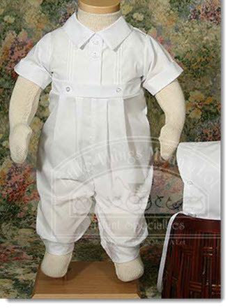 Boys polycotton Christening Romper with pintucking - Little Angels Couture - 1
