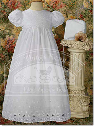 Cotton Gown with Eyelet Lace Border - Little Angels Couture - 1