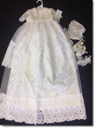 Bella CB  - Beautiful Christening Gown with Guipure lace trim