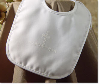 Matte Satin Bib with Screened Cross - Little Angels Couture