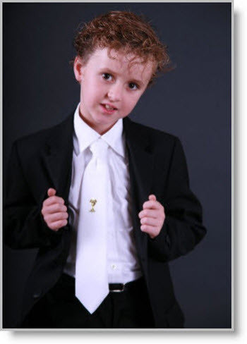 Boys white Tie with Gold Chalice - Little Angels Couture - 2