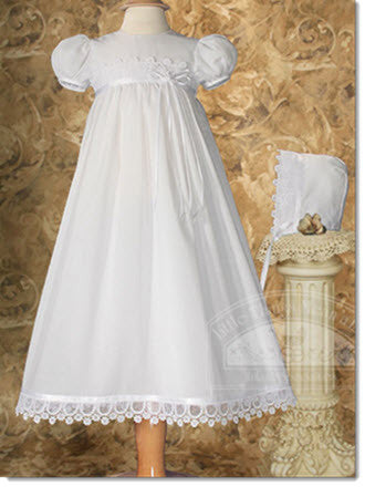 Cotton Christening Dress w/Italian Lace - Little Angels Couture - 1
