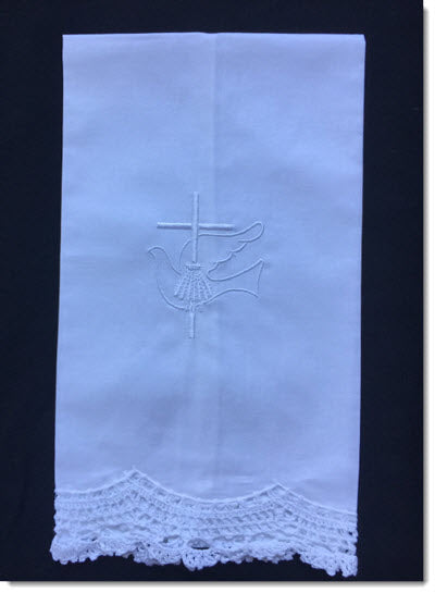 LACE EDGED TOWEL with Dove and Cross embroidery