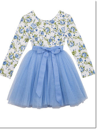 L/S Celine Printed Floral Tutu - Little Angels Couture - 2