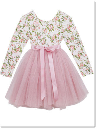 L/S Celine Printed Floral Tutu - Little Angels Couture - 1