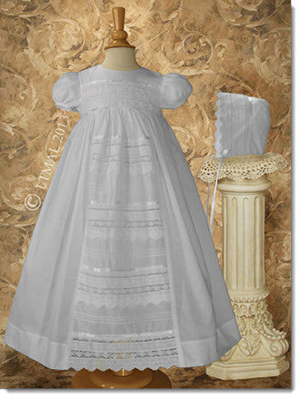 Cotton Gown w/Venise Lace - Little Angels Couture - 1