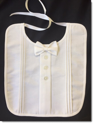 Cotton Pique Christening Bib with Bowtie