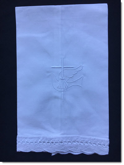 COTTON SCALLOPED FAN EDGE TOWEL with Dove and Cross embroidery