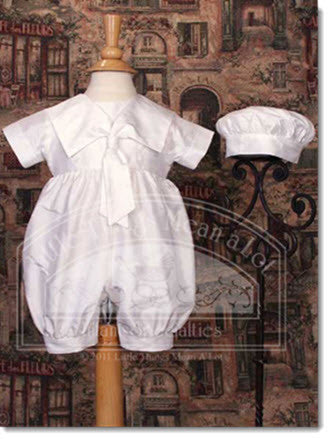 DP25CS - Boys silk dupion one piece w/ sailor collar - Little Angels Couture - 2