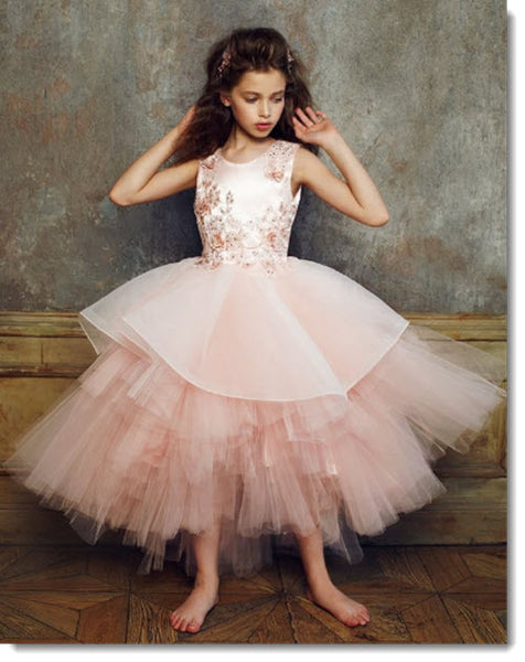 EK 59 - Multiple Tiered Skirt with Hand Beaded 3D Applique Bodice