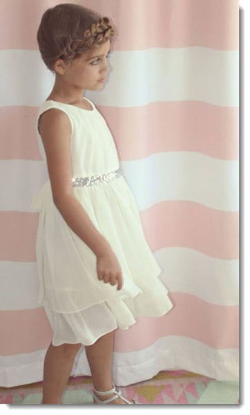 EK 202 Double Tiered Chiffon Dress with Sequin Waist Band