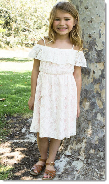 EK 205 Off The Shoulder Short Sleeve Lace Dress