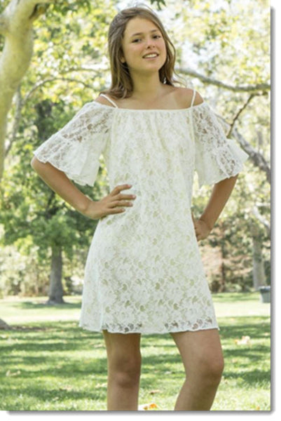 EK 206 Off the Shoulder 3/4 Sleeve Lace Dress