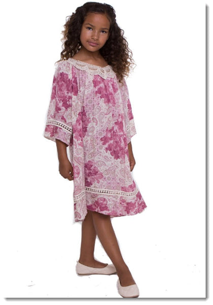EK 208 Lace V-neck Tunic Dress
