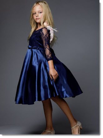 EK 64 Lace Dress with 3/4 Sleeves and Satin Skirt
