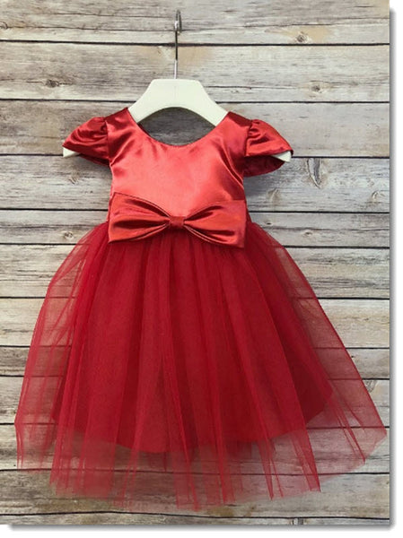 EK 66 Satin and Tulle Dress with Sleeves, Pin on Bow or Rhinestone Belt