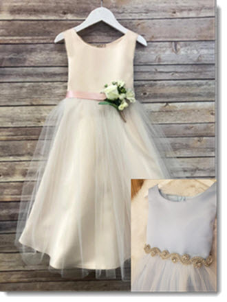 EK 67 Satin Bodice and Satin Skirt with Tulle Overlay, Satin Sash, Beautiful Pin-on Bouquet