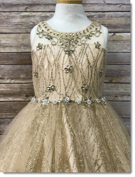EK 79 Glittery Sweetheart Bodice with Jewel Flowers, Jewels around Neckline