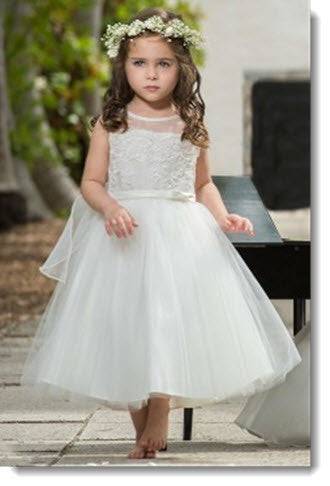 EK 01 Satin Dress with Tulle Skirt and Scalloped Lace Bodice