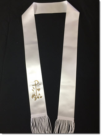 First Communion Stole with Metalic Print