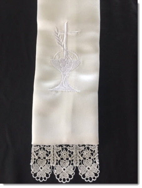 Stole with Chalice and Cross and Lace Trim