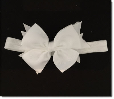 Beautiful Grosgrain Bow - Elastic Headband - white