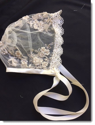 Ivory Beaded Lace Bonnet