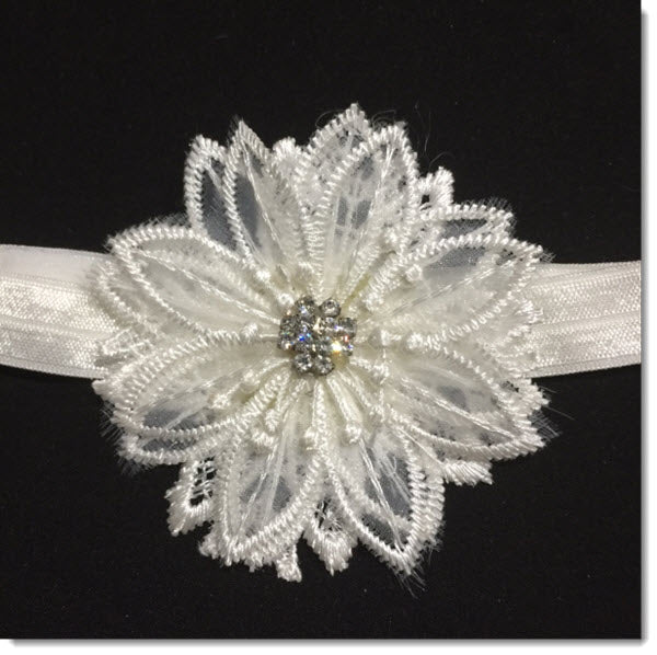 Ivory Christening Headband with 3D Flower and Diamante