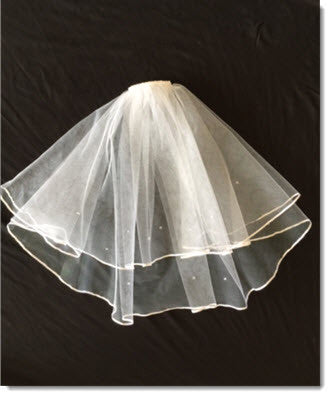 LE 01 Short First Communion Veil with Satin Edge and Crystal beads