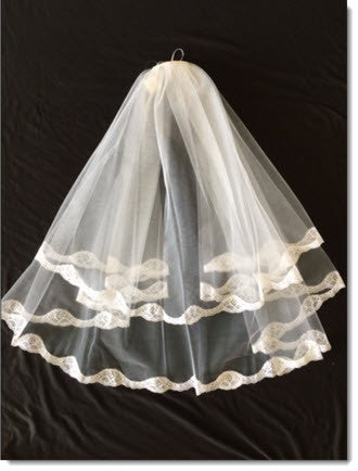 LE 02 Long First Communion Veil with Lace edging