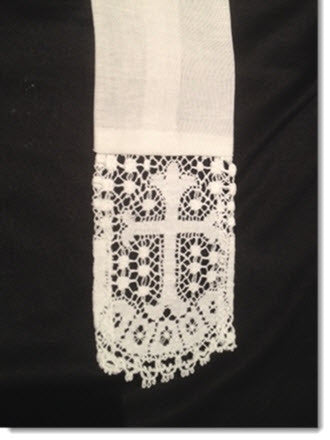 Baptism stole with Liturgical lace - Little Angels Couture - 4