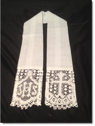 Baptism stole with Liturgical lace - Little Angels Couture - 3