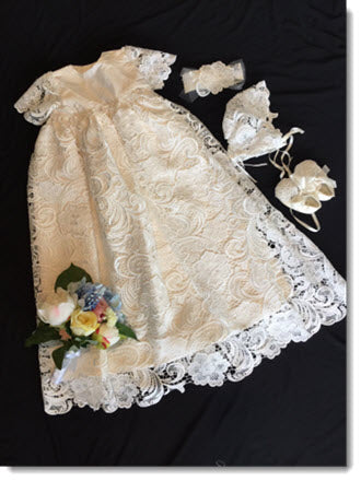 Lisa IN   Ivory Guipure Lace Christening Gown