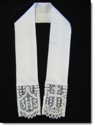 Baptism stole with Liturgical lace - Little Angels Couture - 1