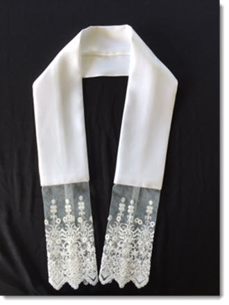 Baptism Stole with Long Net Lace Trim