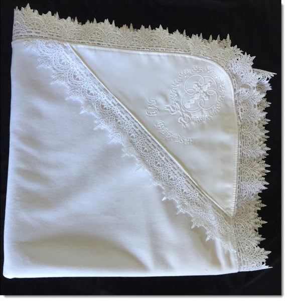 My Baptism Baby Blanket -  Guipure Lace