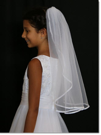 One tier Ribbon edge First Communion Veil